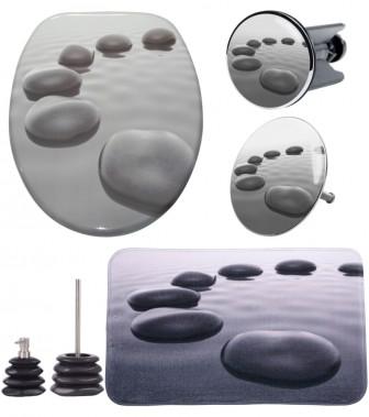 6-teiliges Badezimmer Set Black Stones