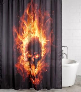 Duschvorhang Totenkopf in Flammen 180 x 200 cm