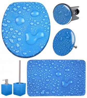 6-teiliges Badezimmer Set Tautropfen Blau