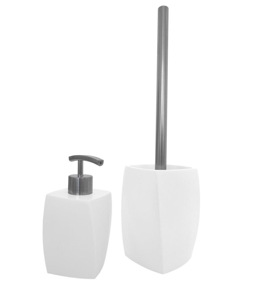 badezimmer set seifenspender mit passender wc b rste b rstengarnitur wave white ebay. Black Bedroom Furniture Sets. Home Design Ideas