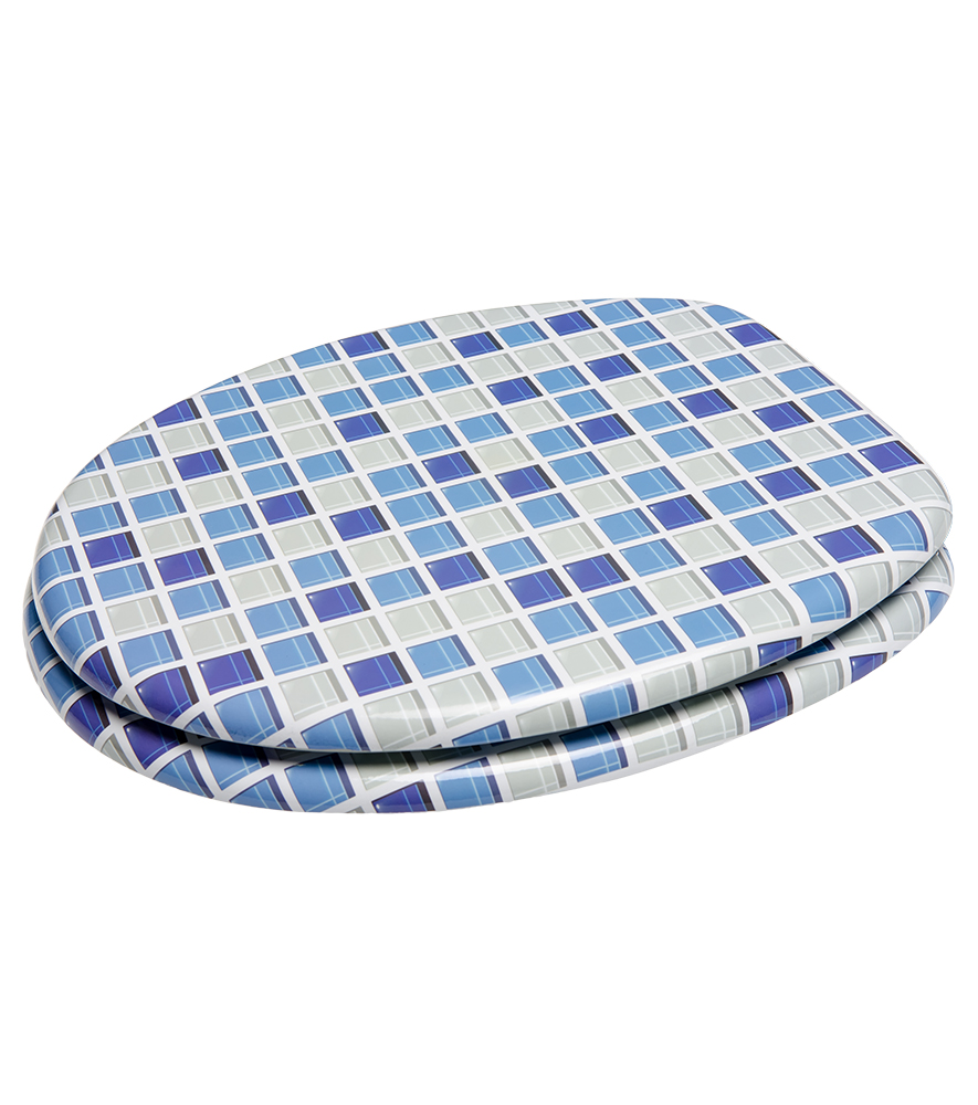 SOFT CLOSE PRINTED WC TOILET SEAT STABLE HINGES SLOW CLOSE MOSAIC BLUE