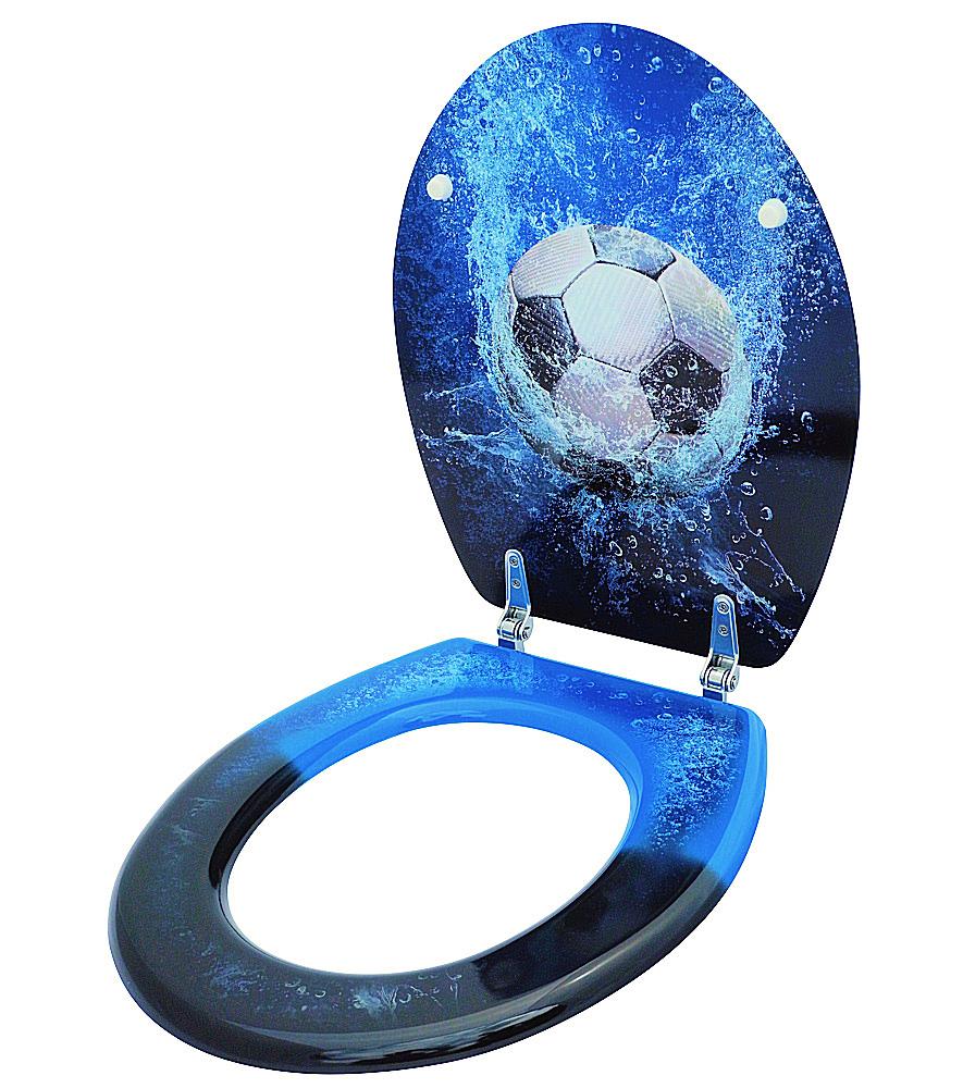 klositz klobrille wc brille toilettenbrille bad badezimmer blau soccer fussball ebay. Black Bedroom Furniture Sets. Home Design Ideas