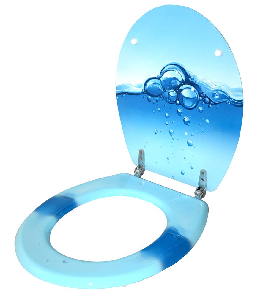 wc deckel toilettensitz toilettenbrille klositz wc brille wasser bubbels blau ebay. Black Bedroom Furniture Sets. Home Design Ideas