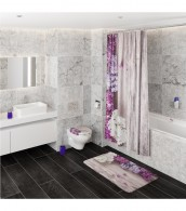 6-teiliges Badezimmer Set Flieder