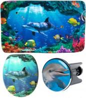 3-teiliges Badezimmer Set Delphin