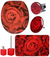 6-teiliges Badezimmer Set Rosen
